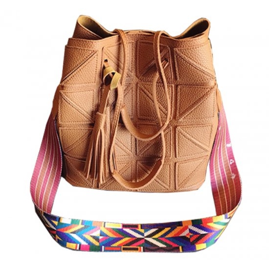 Women Fashion Triangle Fight Water Bucket Brown Color Handbag WB-24BR image