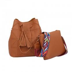 Women Fashion Triangle Fight Water Bucket Brown Color Handbag WB-24BR