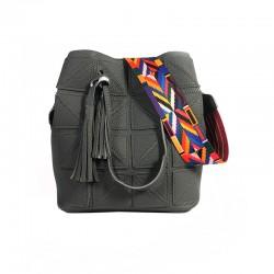 Women Fashion Triangle Fight Water Bucket Grey Color Handbag WB-24GR
