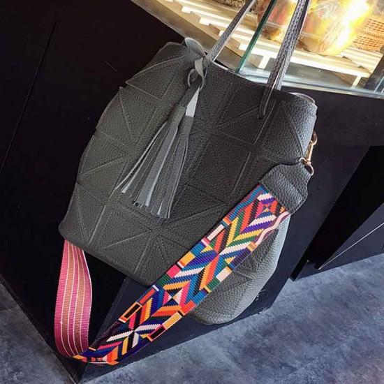 Women Fashion Triangle Fight Water Bucket Grey Color Handbag WB-24GR image