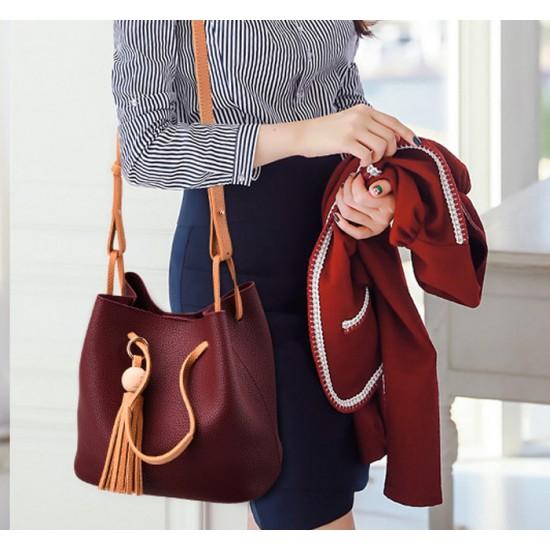 Women Fashion Wild Shoulder Messenger Red Color Handbag WB-25RD image
