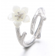 Silver 925 Wind Cherry with White Petals Open Hands Ring R-02 (White)