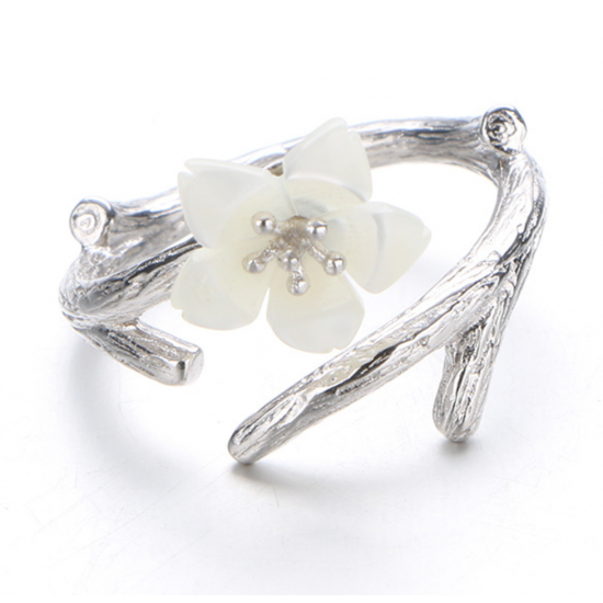 Silver 925 Wind Cherry with White Petals Open Hands Ring R-02 (White) image