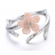 Silver 925 Wind Cherry with Pink Petals Open Hands Ring R-02 (Pink) image