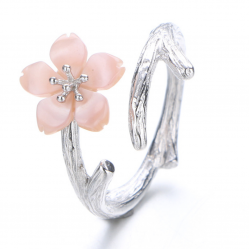 Silver 925 Wind Cherry with Pink Petals Open Hands Ring R-02 (Pink)