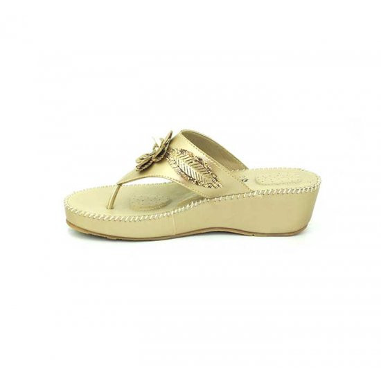 Bata Ladies Comfit Gold Color Women Slipper B-146