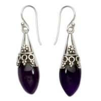 Blue Kerala Princess Sterling Silver and Amethyst Dangle Earrings ANDE-47