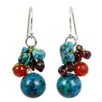 Multi Color Tropical Orchard Serpentine and Garnet Beaded Dangle Earrings ANDE-57