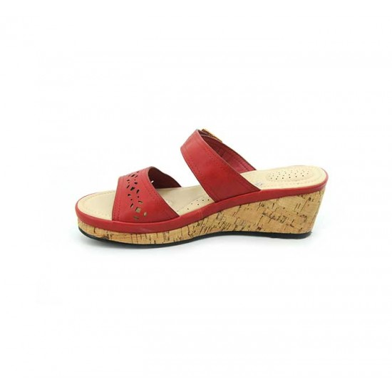 Bata Comfort Red Color Women Wedge Sandal B-175