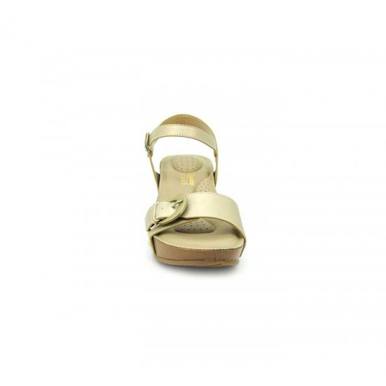 Bata Comfort Gold Color Women Wedge Sandal B-176