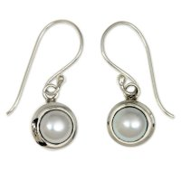 Full Moon Sterling Silver and Pearl Dangle Earrings ANDE-60