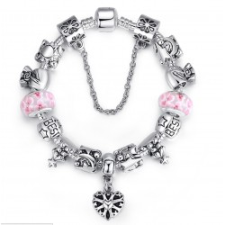 Silver Murano Pink Beads Charm Bracelets With Crystal Women  Jewelry CBD-07P