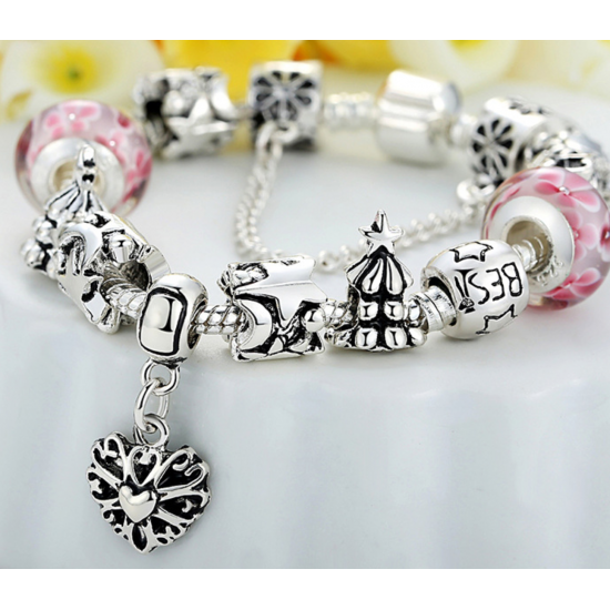 Silver Murano Pink Beads Charm Bracelets With Crystal Women Jewelry CBD-07P image