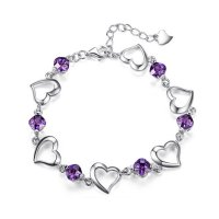 Korean Fashion Purple Color Heart Love Crystal Women Bracelet B-01