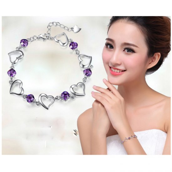 Korean Fashion Purple Color Heart Love Crystal Women Bracelet B-01 image