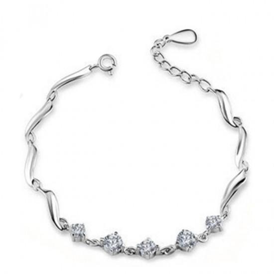 Heart Love Korean Fashion Platinum Plated Crystal Bracelet For Women B-02S image