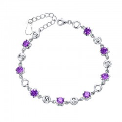 Korean Fashion Purple Color Crystal Bracelet  Women SB-03PR