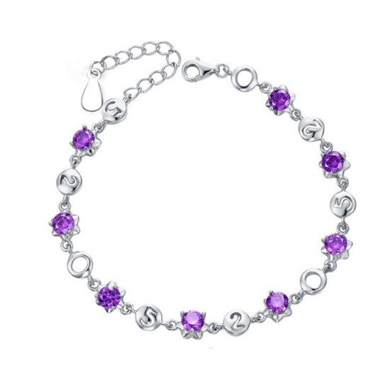 Korean Fashion Purple Color Crystal Bracelet Women SB-03PR image