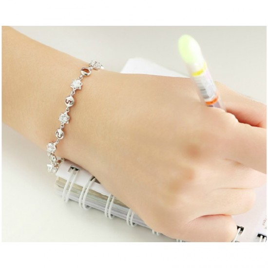 Korean Fashion Silver Color Crystal Bracelet Women SB-03S image