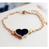 Korean Fashion Black Color Heart Love Clover Bracelet For Women SB-04BK
