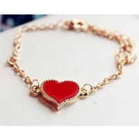 Korean Fashion Red Color Heart Love Clover Bracelet For Women SB-04RD