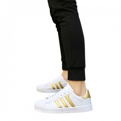 Gold Color Classic Three Bars Shell Head Board Shoes For Womens S-53