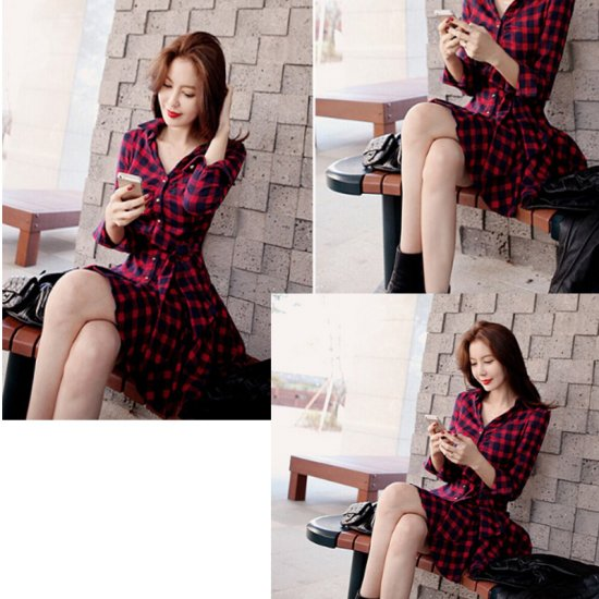 Women Fashion Red Color Retro Thin Coat Mini Dress WC-48 image