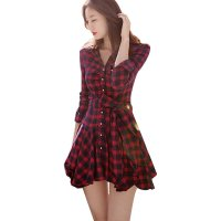 Women Fashion Red  Color Retro Thin Coat Mini Dress WC-48