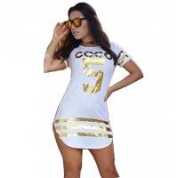 White Color Slim Bodycon Stylish Print Mini Dress For Women WC-47