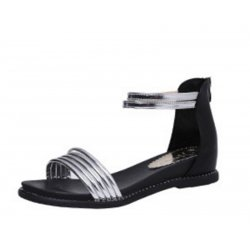 Silver Color Round Head Folder Toe Roman Women Sandals S-56