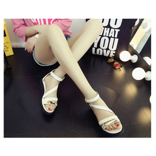 White Color Thick Bottom Belt Buckle Women Sandals S-58