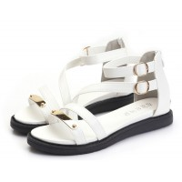 White Color Thick Bottom Belt Buckle Womens Sandals S-58