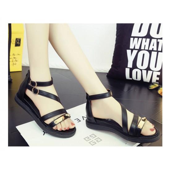 Black Color Thick Bottom Belt Buckle Women Sandals S-58 image