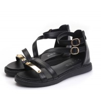 Black Color Thick Bottom Belt Buckle Women Sandals S-58
