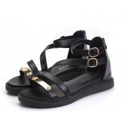 Black Color Thick Bottom Belt Buckle Women Sandals S-58