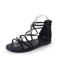 Black Color Tide Rome Strip With Open Toe Women Sandals S-60