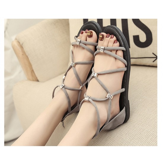 Grey Color Tide Rome Strip With Open Toe Womens Sandals S-60 image
