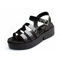 Black Color Tide Roman Bright Skin Thick Women Sandals S-61