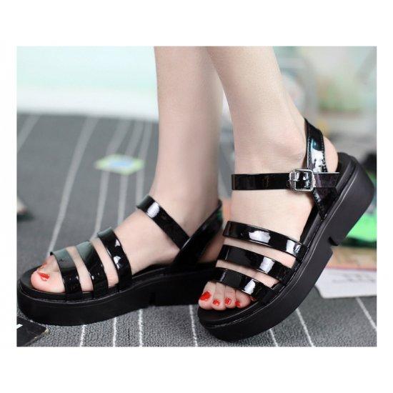 Black Color Tide Roman Bright Skin Thick Women Sandals S-61 image