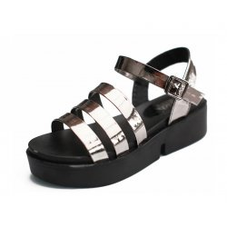 Grey Color Tide Roman Bright Skin Thick Women Sandals S-61