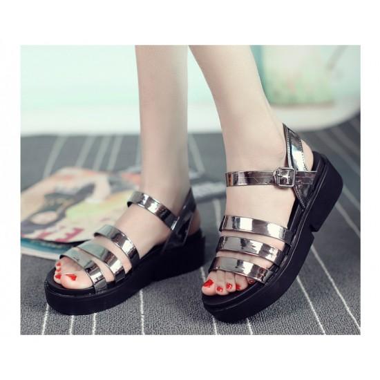 Grey Color Tide Roman Bright Skin Thick Women Sandals S-61 image