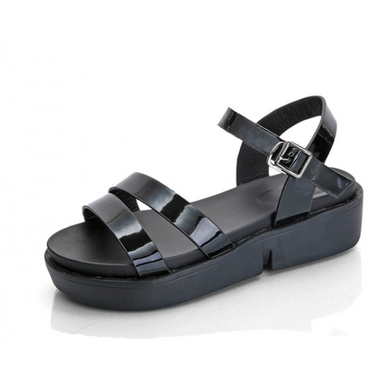 Black Color Summer Thick Open Toe Womens Sandals S-62 image