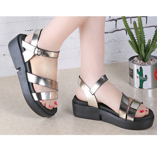 Gold Color Summer Thick Open Toe Women Sandals S-62 image