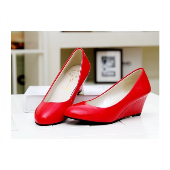 Women Red Slope Flat Bottom Shoes S-64 image