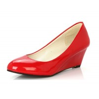 Women Red Slope Flat Bottom Shoes S-64