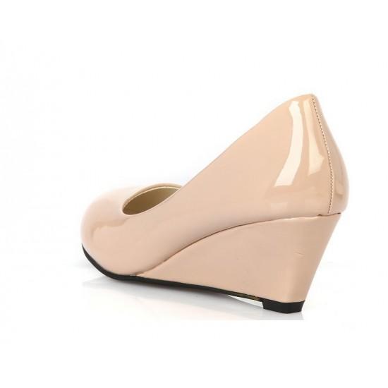 Women Cream Slope Flat Bottom Shoes S-64 image