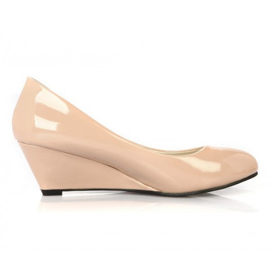 Women Cream Slope Flat Bottom Shoes S-64 image