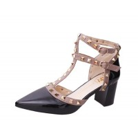 Black Color Rivet Pointed T Type Strap Womens Sandals S-65