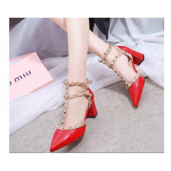 Red Color Rivet Pointed T Type Strap Womens Sandals S-65 image
