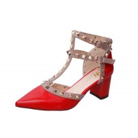 Red Color Rivet Pointed T Type Strap Womens Sandals S-65
